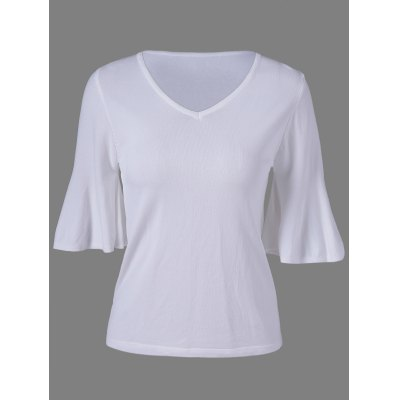 Simple Trumpet Sleeves V-Neck Knit Top For Women