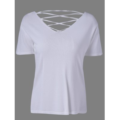 Stylish Cut Out Back V-Neck Knit Top For Women