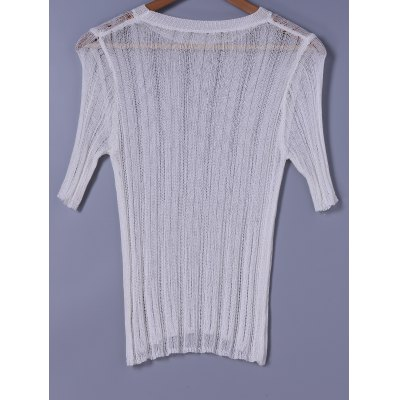 Scoop Neck Solid Color Short Sleeves Sweater