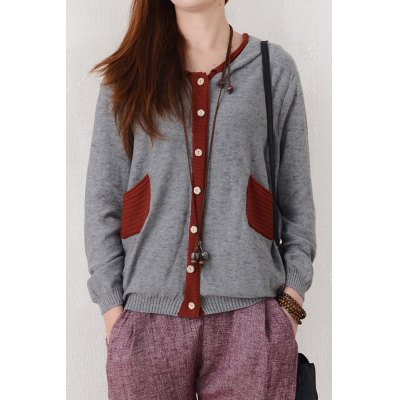 Hooded Hit Color Cardigan