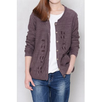 Plant Embroidered Long Sleeve Cardigan
