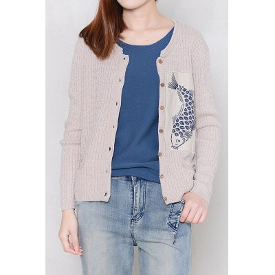 Long Sleeve Fish Embroidered Cardigan