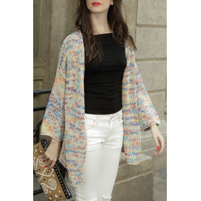 Colorful Collarless Cotton Long Sleeve Cardigan