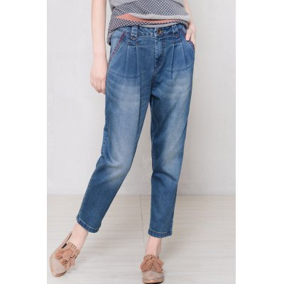 Pleated Dark Wash Tapered Jeans