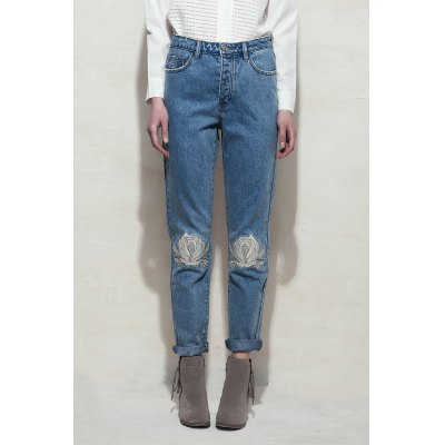 Embroidered Rose Penicl Jeans