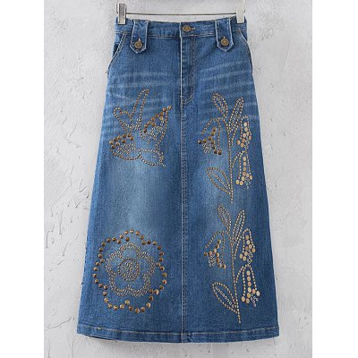 Fashion Rivet Sequins Denim Skirt For Women