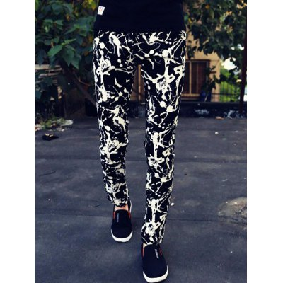 Abstract Print Zipper Fly Skinny Tapered Pants For Men