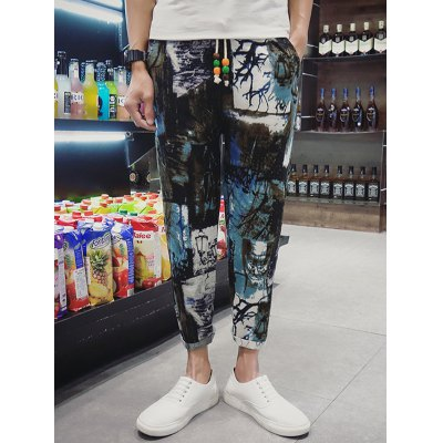 Pocket Back Drawstring Print Ninth Pants