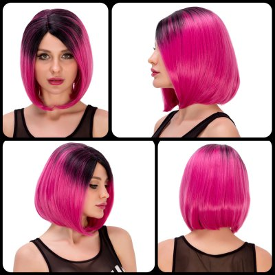 Fashion Short Straight Side Parting Mixed Color Synthetic Bob Party Wig For Women