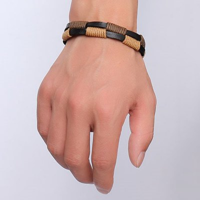 Artificial Faux Leather Hemp String Wrap Layered Bracelet For MenMens Jewelry<br>Artificial Faux Leather Hemp String Wrap Layered Bracelet For Men<br><br>Chain Type: Leather Chain<br>Gender: For Men<br>Item Type: Strand Bracelet<br>Material: Leather<br>Metal Type: Alloy<br>Package Contents: 1 x Bracelet<br>Shape/Pattern: Geometric<br>Style: Hipster<br>Weight: 0.036kg