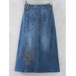 cheap Fashion Rivet Sequins Denim Skirt For Women