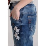 Cartoon Pattern Drawstring Waist Jeans for sale