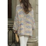 cheap Collarless Colorful Cotton Long Sleeve Cardigan