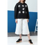 cheap Round Neck Printed Drop Shoulder Sweatshirt