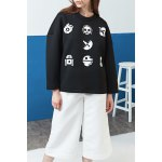 Round Neck Printed Drop Shoulder Sweatshirt