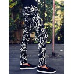 cheap Abstract Print Zipper Fly Skinny Tapered Pants For Men