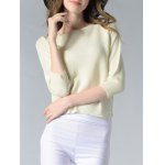 cheap Elegant Pure Color Slit Hi Low Slim-Fitted Knit Sweater