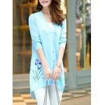 cheap Floral Print Long Sleeve Candy Color Cardigan