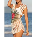 Chic Floral Cut Out Crochet Cover-Up