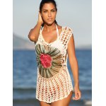 Chic Floral Cut Out Crochet Cover-Up for sale