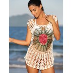 cheap Chic Floral Cut Out Crochet Cover-Up