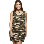 Plus Size Camouflage Print Sleeveless Dress