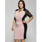 cheap Plus Size 1/2 Sleeves V-Neck Splice Lace Dress
