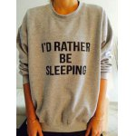 cheap Stylish Round Neck Long Sleeve Letter Printed Women's Sweatshirt