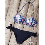 Fashionable Strapless Printed Underwire Bikini Set For Women