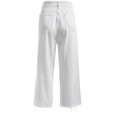 Simple Women's Broken Hole White Denim Pants