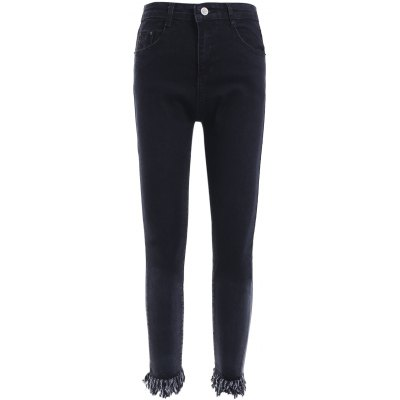 Slimming Unedged Black Denim Pants