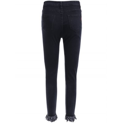Brief Women's Slimming Unedged Black Denim Pants