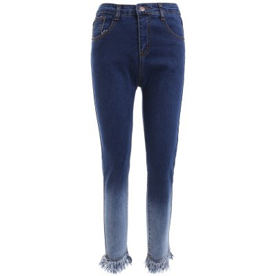 Gradient Color Fringed Slimming Denim Pants