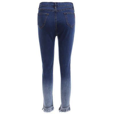 Stylish Women's Gradient Color Fringed Slimming Denim Pants