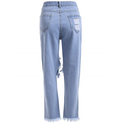 Stylish Women's Broken Hole Fringed Loose Denim Pants
