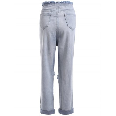Chic Women's Broken Hole Bleach Wash Denim Pants