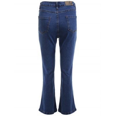 Chic Women's Side Slit Denim Boot Cut Pants