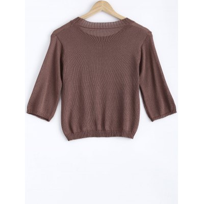 Sweet Front Sequined Pure Color Cropped Pullover Sweater