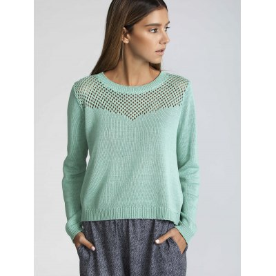 Long Sleeve Hollow Out Pure Color Sweater
