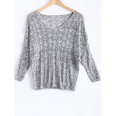V-Neck Batwing Sleeve Hollow Knitwear For Women