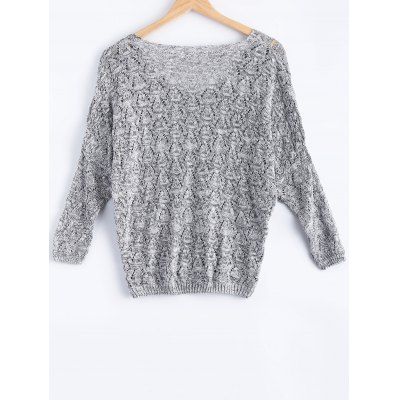 Casual V-Neck Batwing Sleeve Hollow Knitwear For Women