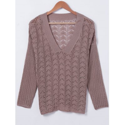 Hollow Out V-Neck Long Sleeves Knitwear