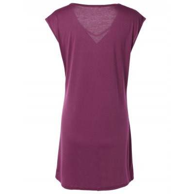 Stylish Scoop Neck Short Sleeve Hollow Out Dress For Women