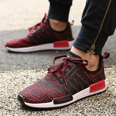 Trendy Striped and Tie Up Design Athletic Shoes For Men