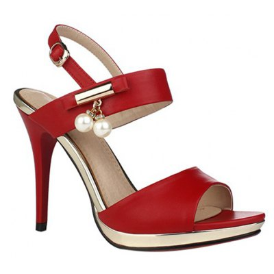 Graceful Platform and Faux Pearls Design Sandals For Women