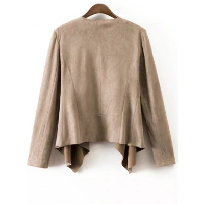 Fashion Lapel Collar Long Sleeve Suede Coat For Women