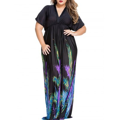 Elegant Plunge Neck Peacock Feather Print Dolman Sleeve Maxi Dress