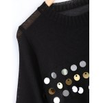 Sweet Front Sequined Pure Color Cropped Pullover Sweater deal