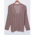 V Neck HollowOut Long Sleeves Knitwear