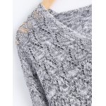 Casual V-Neck Batwing Sleeve Hollow Knitwear For Women deal